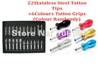 alloy aluminium grip - R D F Stainless Steel Tattoo Tips Kit Grip Closed Tip Assorted Colour Tattoo Aluminium Alloy Grips