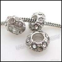Wholesale New Round Alloy with Crystal Rhinestone Big Hole Charms Beads Fit European Bracelet
