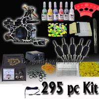 Wholesale Beginner cheap tattoo starter kits guns machines ink sets grips tubes power with OZ ink as GIFT D80 DH