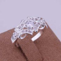 Venta al por mayor-caliente !! joyería del envío 925 Anillo de plata esterlina de la manera de plata, con incrustaciones de piedra de la correa del anillo SMTR146