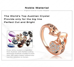 Wholesale Love Letter Bow Ring - Wholesale-LZESHINE Brand Black Enamel Love You Letter Ring Heart Bow 18K Rose Gold Plate Austrian Crystal Message Ring anillos Ri-HQ1055-A