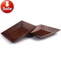 Wholesale New arrival eco friendly wood brief dessert plate small dish wooden dessert square dish