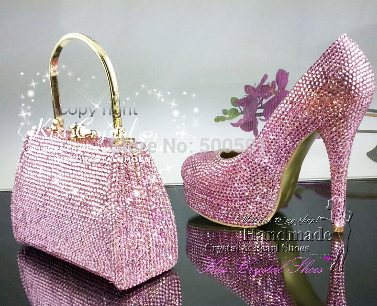 Wholesale Pink Women Pumps High Heels Bling Crystal Pink Platform