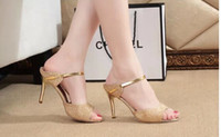 ballet pumps sale - summer women fashion Metal sequins high thin heels leather Pumps hot sale