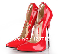red bottoms heels - Fashion sexy brand red high heel pointed shoes women metal thin heel single ring belt red bottom wedding shoes size