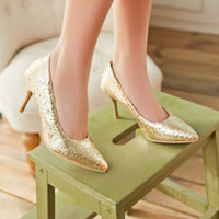 Wholesale Plus Size New Sexy Elegant Fashion Casual Women High heels Glitter Party shoes color Spool thin heels QL3822