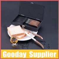 Wholesale Original Laguiole Steak Knife Set with Oliver Handles Package in Wooden Box Stainless Steel Cutlery Set