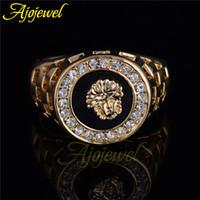 mens diamond ring - Ajojewel brand new high quality CZ diamond superhero mens rings gold filled fashion figure ring black