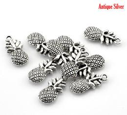 Wholesale hot Antique Silver Pineapple Fruit Charm Pendants x9mm quot x3 quot B21634
