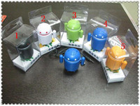 Wholesale Google Android Robot Mini Speaker amp Audio Cable and USB Cable with Retail Package Colors