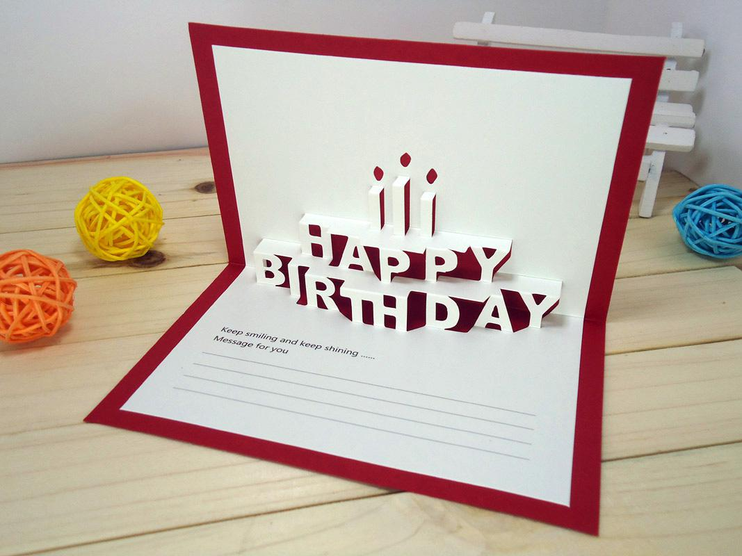 wholesale .x.cm happy birthday creative kirigami origami d, Birthday card