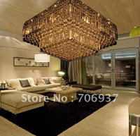 Cheap Wholesale-free shipping high quality modern crystal square ceiling chandelier lamp