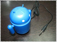Wholesale Google Android Robot Mini Speaker amp Audio Cable and USB Cable with Retail Package box