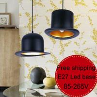 Cheap Wholesale-1PCS LOT Square hat chandelier black shell color pendant aluminum led lighting chandelier 220V modern chandelier led lamp