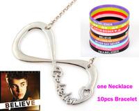 belieber infinity - Justin Bieber I Love JB one pc Silver Belieber Infinity Necklace pcc Silicone Bracelets Wristbands Jewelry Gift