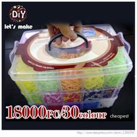 La goma DIY de la alta calidad de goma de la diversión Loom Bandas Kit Kids-18000pcs al por mayor para la pulsera de 3 capas de PVC CAJA Familia Loom kit del sistema de recargas
