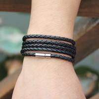 big glamour - Big Special Offer Latest Trends Laps Leather Bracelet Man Glamour Punk Black Bracelet Best Gift