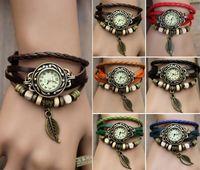 Wholesale Quartz Fashion Weave Wrap Around Leather Bracelet Lady Woman Wrist Watch Color