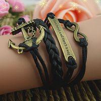 anchor blocks - vintage health bracelet fashion anchor block infinity bracelet multi layer leather bracelet big discout