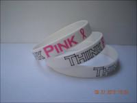 awareness logos - Cancer awareness wristband Think Pink ribbon bracelet printed logo
