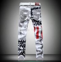 america jeans - men color Print Jeans America flag pants mens denim printed pants straight leg calsa male casual rock jeans