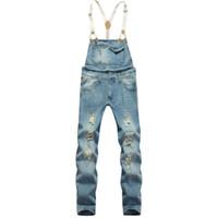 overalls for men - Fashion men s slim ankle length bib pants Male hole ripped denim jeans Suspenders overalls Jumpsuits for men