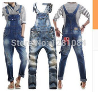 overalls for men - Men s Korean style slim Jumpsuits Hole suspenders jeans for men Mens denim bib pants Blue Denim Overalls Trouser For Man
