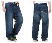 Cheap Wholesale-6XL Plus size Baggy Mens Winter Jeans Hip-hop Skateboard Pants 30-46