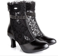 womans shoes - New Arrival Devise womans Top grade leather High Heel Boots Professional Latin dance shoes Lace hollow out shoes