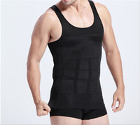 Cheap 1pc lot Mens Slimming Body Shaper Bellly Buster Underwear Fatty Underwear Vest Shirt Corset Compression white Black AY870648