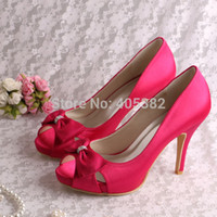 ballet style pumps - Colors New Style Hot Pink Women Customized Wedding Bride Shoes Pump Size