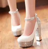 red pumps - Women Red Sole Ankle Strap High heels Sequins Thick Heel Platform Pumps Women Wedding Shoes Plus Size White Silver Gold Red