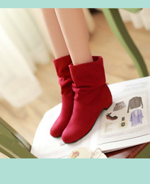 Wholesale autumn and winter velvet boots scrub women s martin boots shoes spring and autumn boots female cotton boots low thick