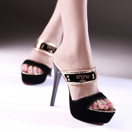 Wholesale New Summer Red Bottom High Heels Sexy lady Peep Toes Thin heel Slippers Women Pumps Platform Sandals Shape OL Ladies Slides