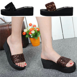 Wholesale-Ladies Sequins Sparkling Foam-soled Heavy Platform Sandals Slipper,Sandalias Rasteiras,Open Toe Women Sandal Sponge Thick Bottom