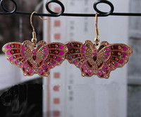 Wholesale Butterfly Latest Earring Fashion Dangler High quality China Cloisonne Cheap Alloy Earring Free