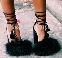 Cheap Wholesale-2015 Summer new design women hot sexy party black big fur lace up high heel sandals charming shoes lady free shipping