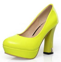 Wholesale Patent Leather Women s Platform Spool Heel Pumps Shoes with Fluorescent Yellow Black White Colors