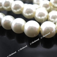 Wholesale 444x New Fashion White Glass Faux Pearls Loose Bead mm Fit European Bracelets DIY