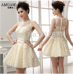 Wholesale Enchanting Exquisited ready to ship price A line Mini Prom Dresses short with lace short under
