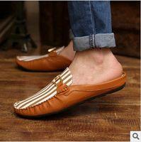 Wholesale new summer fashion men s shoes flats semi slipper shoes Baotou fashion men s shoes sandals peas