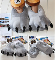 Cheap Wholesale-Adult Winter Warm Animal Shoes Family Pajamas sets costumes Animal Paw Claw Cartoon Slippers Flat Indoor Home Shoes One size