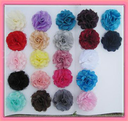 Wholesale FahsionDual 3''satin mesh flowers with hair clip barrette hair pin drop shipping
