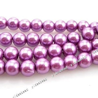 Beaded, Strands strands of glass beads - 420x New Fashion Faux Purple Glass Pearl Round Beads mm Fit European Bracelets DIY