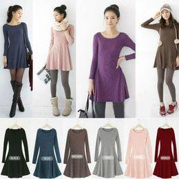 Wholesale-2015 NEW women casual cotton plus size spring autumn fall black pink brown grey blue purple bordeaux long sleeve one piece dress