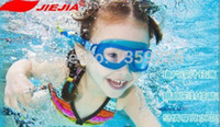 Wholesale Jiejia Blue Big Glass Unisex boys girls Kids Anti fog Waterproof Swimming Goggles New