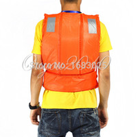 adult ski vest - New Arrival Orange Adult Swimming Surfing Water skiing Summer Drift Rafting Lift Vest Jacket flotation Device With Whistle