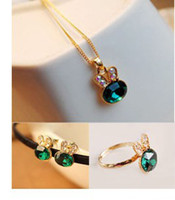 Wholesale Min order is Mix order lovely deep green pendant necklace earring ring set jewelry set hot sale price