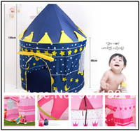 Wholesale High Quality Lovely Prince and Princess Palace Castle Children Play Tent Toy Indoor Outdoor blue and pink colors mixed