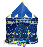 Cheap Wholesale-Free Shipping Princess Prince Pink Blue Castle Style Tent Play Pop Up Tent House for Kids